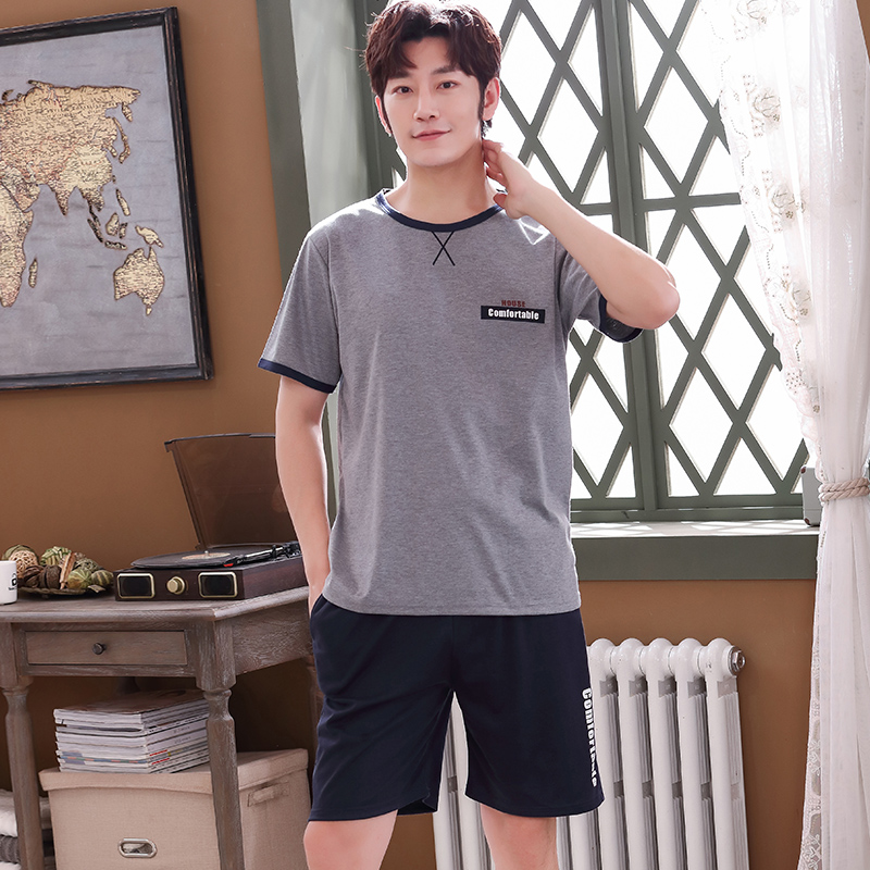 Full Cotton Men Pyjama Set Summer L-4XL Men Pajama Suit Short Sleeve Solid Pajama Male Sleepwear Spring Pijama Man Nightgown 3XL