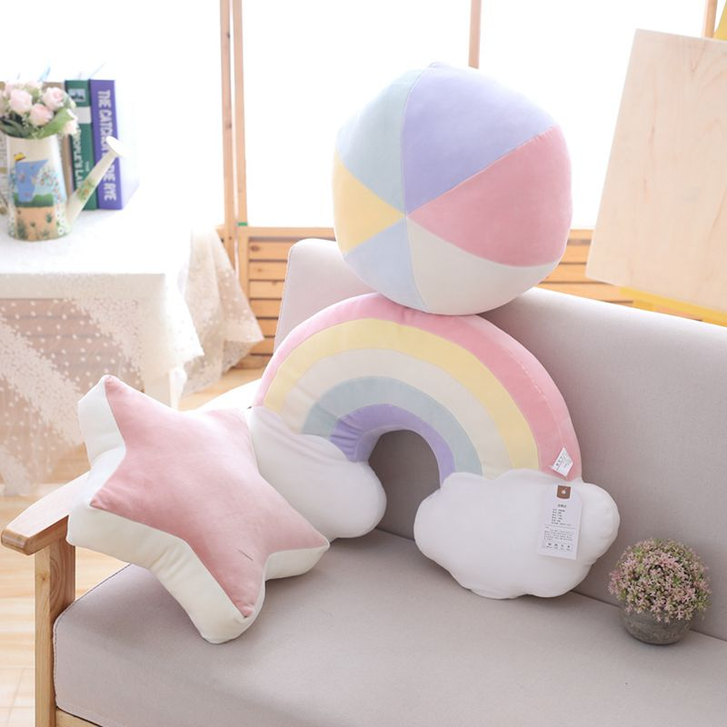 1pc Colorful Moon Star Lucky Cloud Rainbow Conch Hill Ball Shooting Star Plush Pillow Natural Stuffed Pillow Sofa Chair Decor
