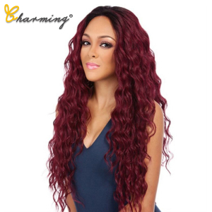 CHARMING Long Bouncy Curly Synthetic Wigs Ombre Brown Blonde Middle Part Heat Resistant Wavy Wigs For Women Cosplay Party
