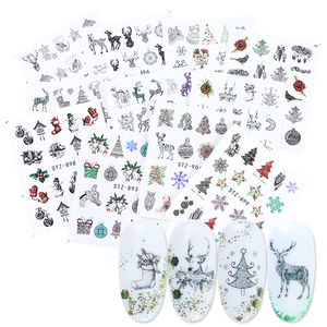 12pc New Year Nail Art Transfer Sticker Set Christmas Winter Decals Snowflakes Sliders Wraps Manicure Decorations TRSTZ892-905-1