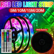 RGB 5050SMD Flexible LED bande lampe étanche sans fil télécommande rampe d'éclairage à LED LED RGB 5M 10M 15M 20M adaptateur US EU prise britannique