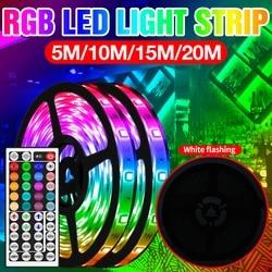 RGB 5050SMD Flexible LED Strip Lamp Waterproof Wireless Remote Control Strip Light LED RGB 5M 10M 15M 20M Adapter US EU UK Plug