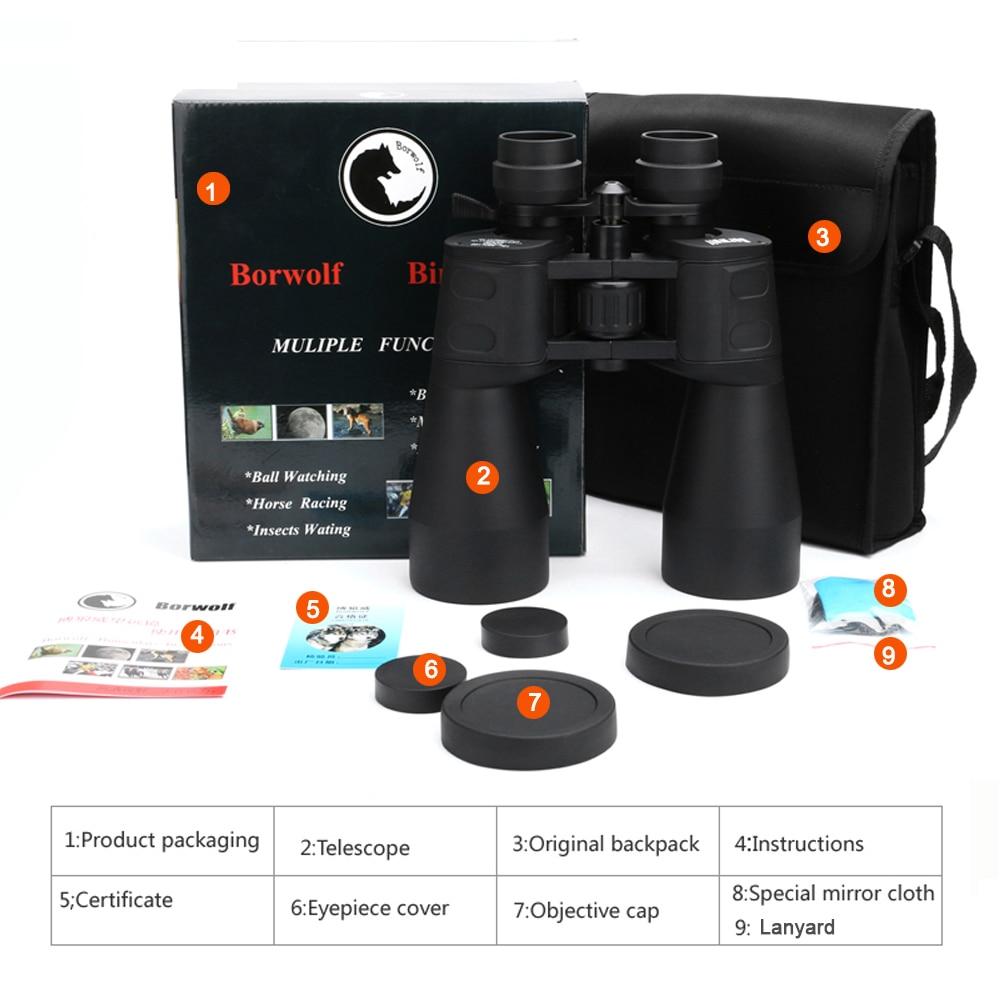 Купить с кэшбэком Borwolf  10-60 times High Magnification HD Professional Zoom Binoculars 10-380X100 Telescope Light Night Vision