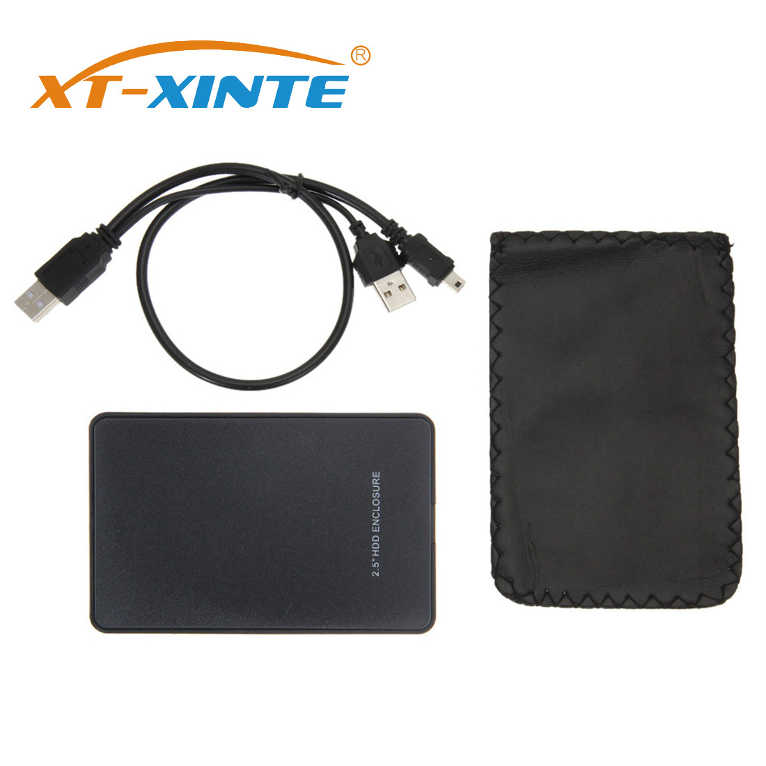 XT-XINTE 2.5 Inch USB 2.0 SATA HDD Box Mobile SSD Hard Drive External Enclosure Case Support 2TB Data Transfer Backup Tool
