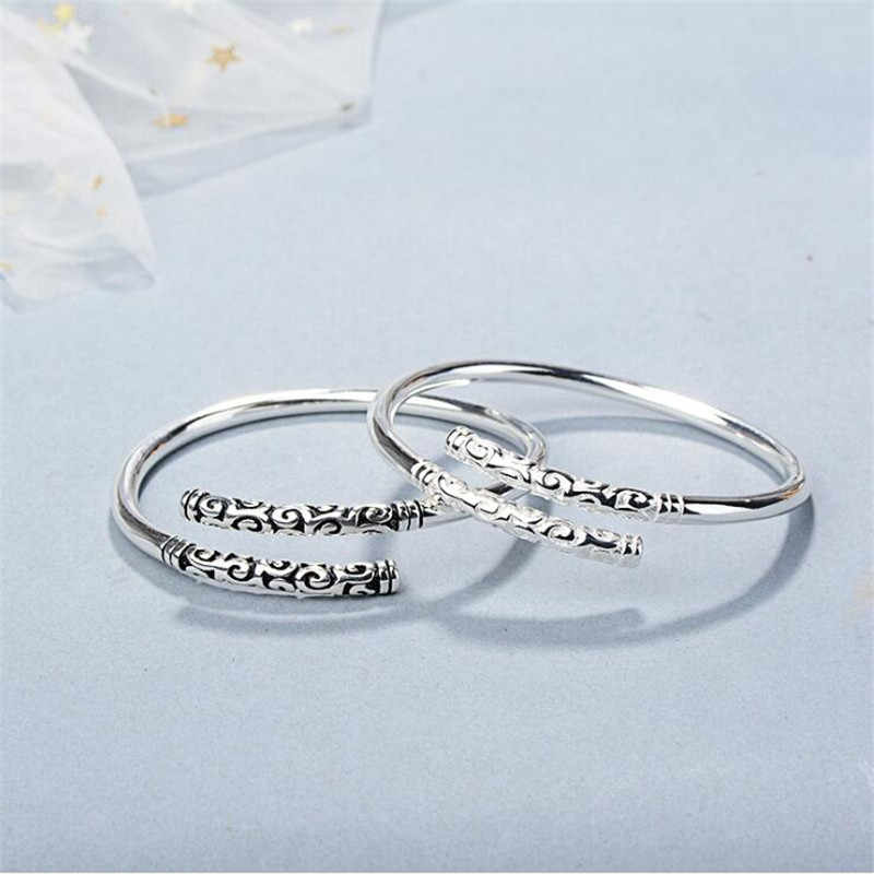 New Simple Creative Wukong's Weapon Bracelets 925 Sterling Silver Jewelry Fashion Personality Hoop Bar Couple Bangles SB196