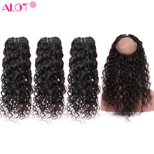 ALot Water Wave Human Hair Bundles With 360 Lace Frontal Closure Non Remy Brazilian Hair Weave 3 Bundles With Closure 4 Pcs/Lot(China)