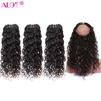 ALot Water Wave Human Hair Bundles With 360 Lace Frontal Closure Non Remy Brazilian Hair Weave 3 Bundles With Closure 4 Pcs/Lot - DISCOUNT ITEM  59% OFF All Category