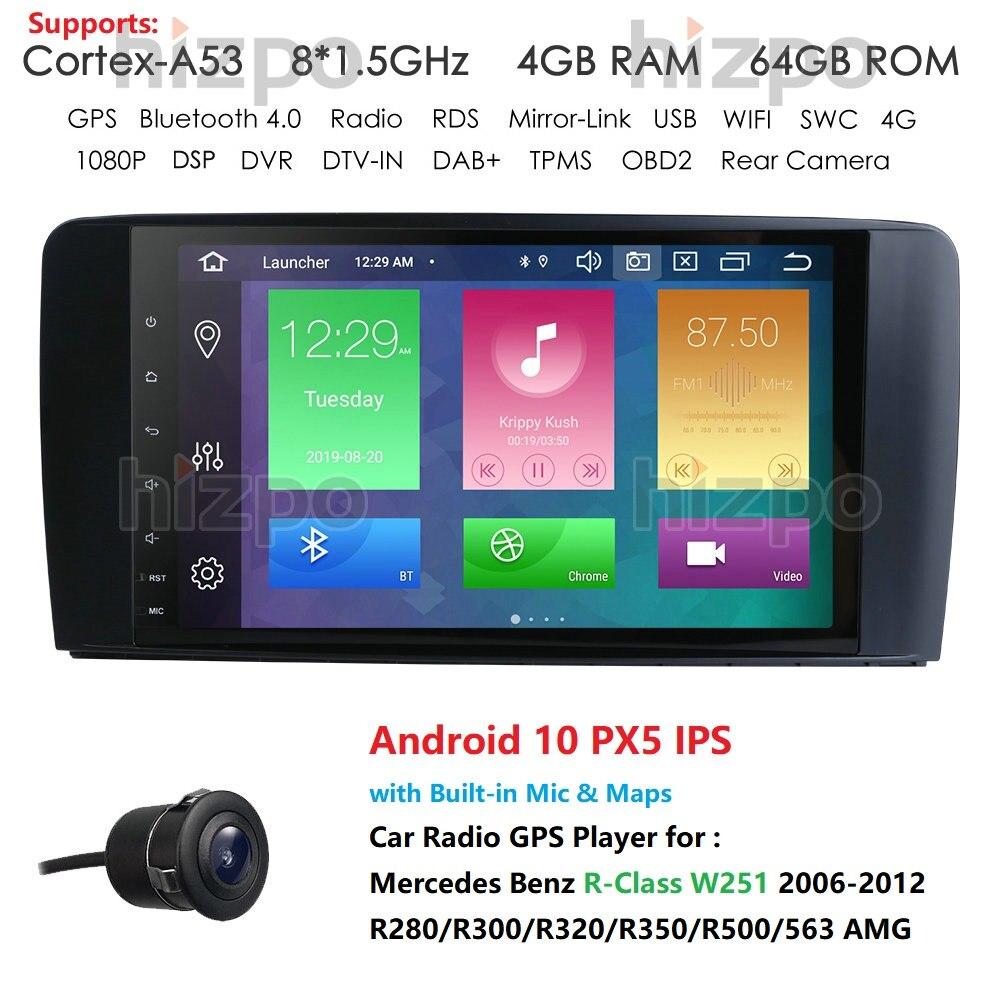 Последний Android 10 IPS сенсорный экран автомобильный GPS плеер для Mercedes Benz R Class W251 2006 2012 R280/R300. Восьмиядерный Wifi радио