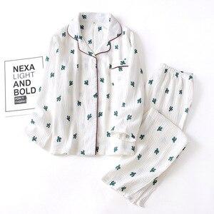 Image 4 - New Crepe Cotton Cactus Printing Pajamas Long Sleeve Trousers Pajama Set Loungewear Women Sleepwear Loose Sleepwear Home Clothes