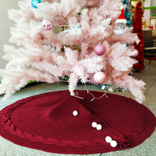 Knitted Christmas Tree Skirt Yarn Wine Red Country Style Day Decoration 48 Inches