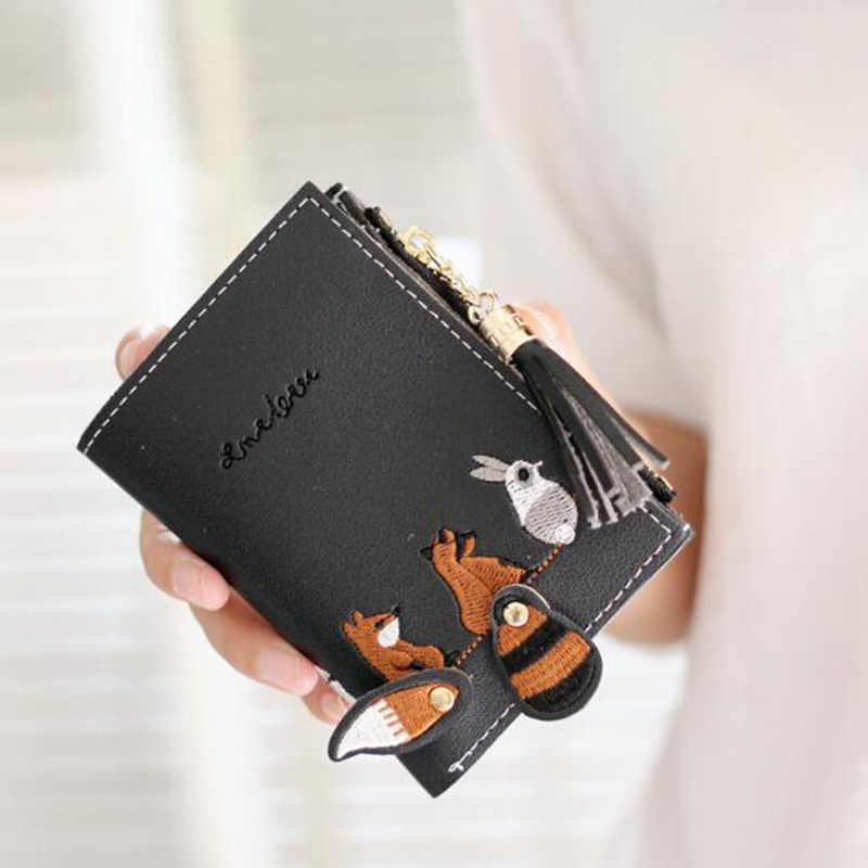 Nữ tua rua ngắn ví mini dây kéo 2 gấp gấp tiền, túi đựng thẻ hoạt hình dễ thương động vật nhỏ phối dây kéo ví nữ thêu chuyền Da PU Ví