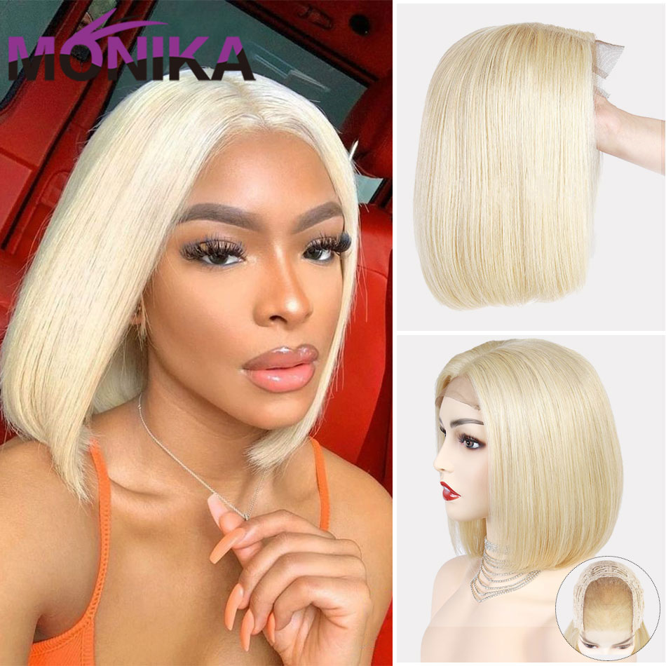 613 Wig Bob Blonde Wigs Human Hair Wigs For Women Human Hair Brazilian 4X4 Lace Closure Wig Straight Short Bob Wig Remy Monika