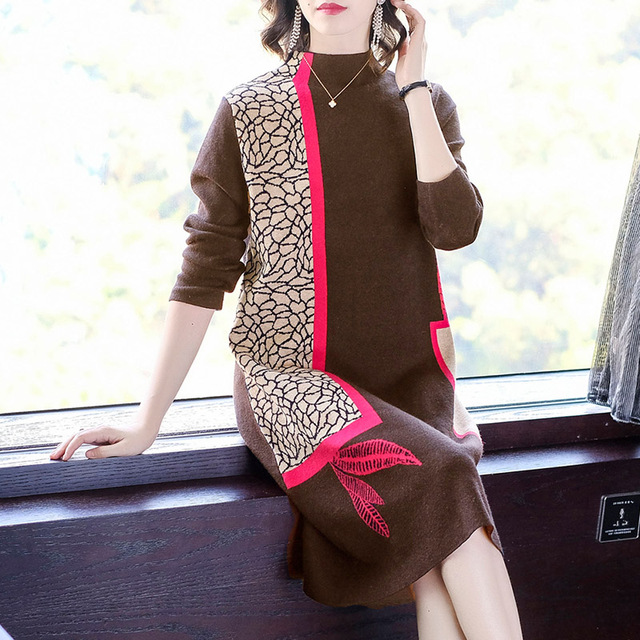 Fashion show thin knitting dress long sleeves loose female in the new winter long knee-length hair dress 1