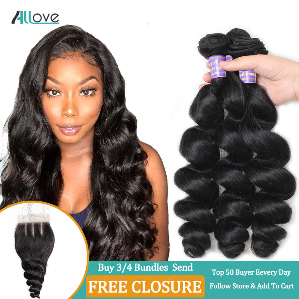 Allove Loose Wave Hair Bundles Indian Hair Bundles 100% Human Hair Extensions Non-Remy Hair Buy 3/4 Bundles Get Free Closure