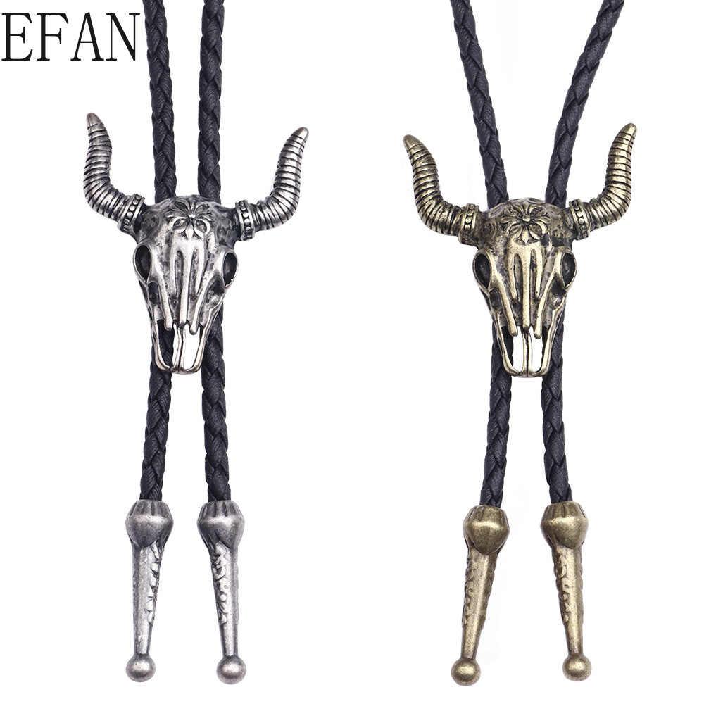 Roman kamera modeli desen Bolo kravat dans bağları PU deri kolye çiçek kravat siyah batı kovboy erkek için zincir