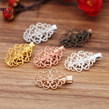 BoYuTe (20 Pieces/Lot) 22*32MM Filigree Flower Hair Clips Vintage Diy Hand Made Hair Accessories Wholesale