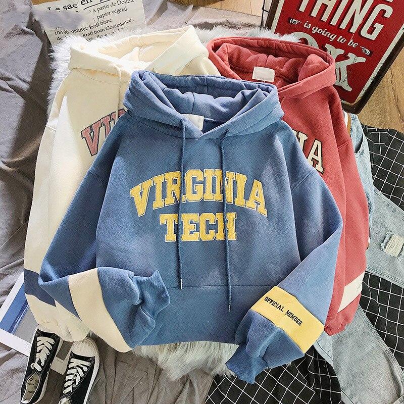 Женские толстовки с капюшоном, утепленный бархатный теплый пуловер с буквами, зимнее пальто на завязках, Harajuku, розовая Женская толстовка в Корейском стиле, новинка, высокое качество|Толстовки и свитшоты|   | АлиЭкспресс