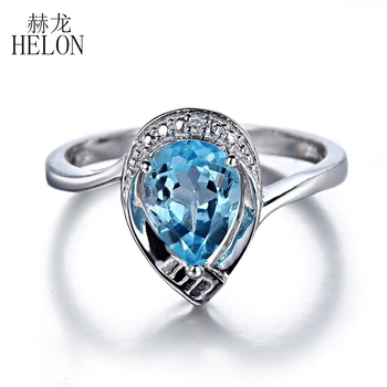 HELON Gemstone Diamond Fine Jewelry Ring Real 10K White Gold Pear Cut 8x6mm Genuine Blue Topaz & Diamond Engagement Wedding Ring image