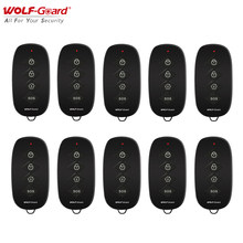 10Pcs Wolf-Guard 433MHz Wireless RF 4 Keys Remote Control Portable Keyfobs Accessories for Home Alarm Sceurity System Black
