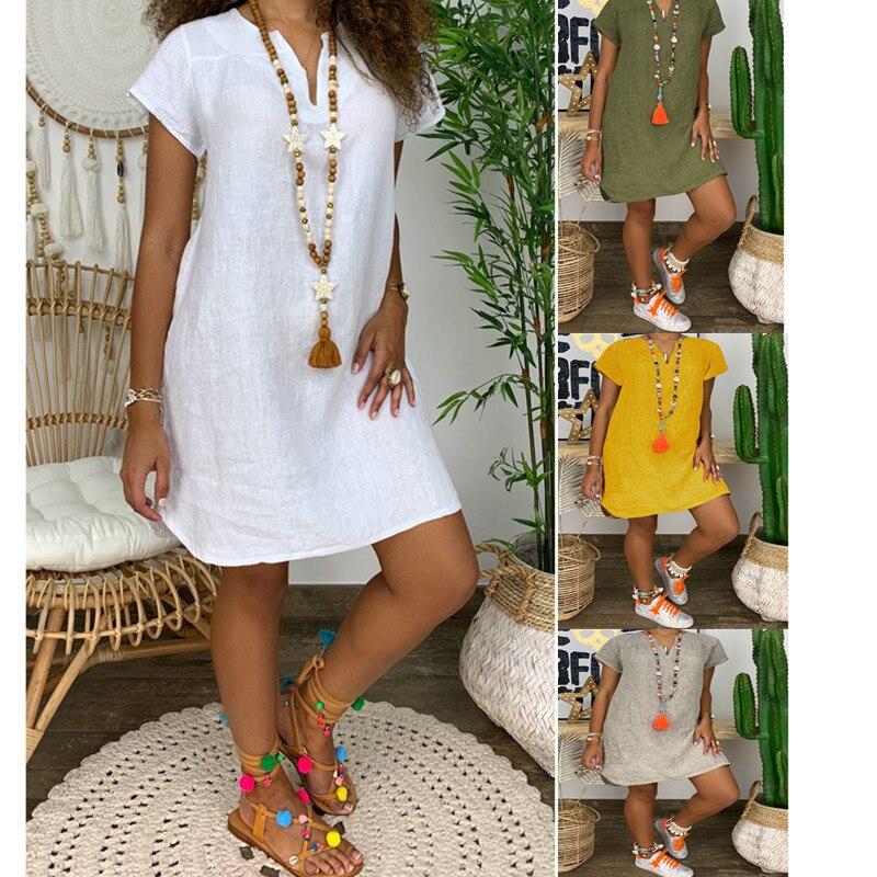 Plus Size Short Summer Dress Women Leisure Sundress Loose-Fit Solid Color Short Sleeve V-neck Cotton Linen Dress Grey White 5XL