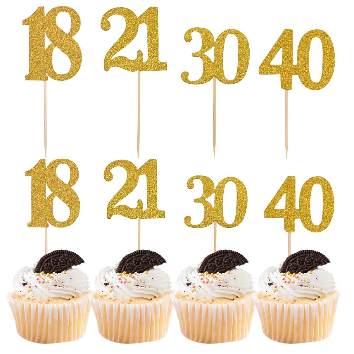 Confeitaria de bolo de número de ouro, 18 21 30 40 50 60 anos de idade, decoração de festa de aniversário, toppers de bolo de papel com vara 10 conjuntos de 10 conjuntos