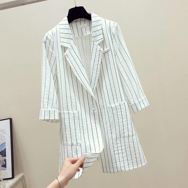 Casual Summer Blazer Women Striped Spring Blazer Women Casual Women Blazers And Jackets Plus Size Women Suit Jacket Veste Blazer