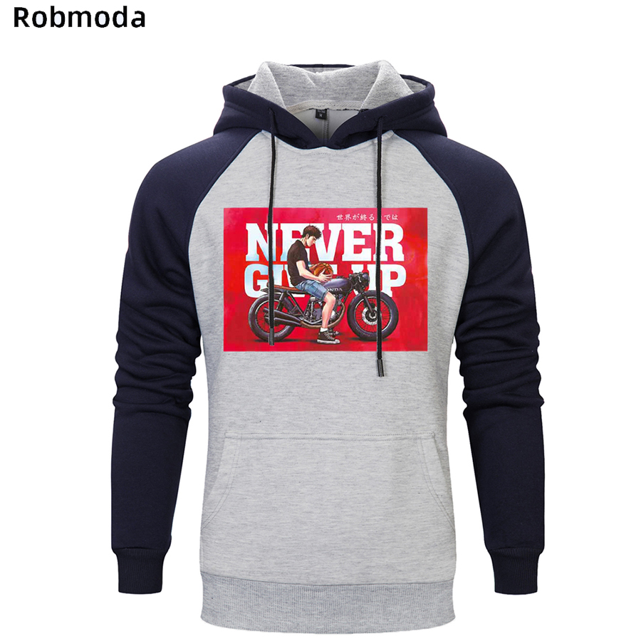 Never Give Up Motorcycle Fashion Brand Letter Raglan Men's Hoodie Plain Sweat Homme White Cotton Ellesse-man Hoodies Sweatshirt