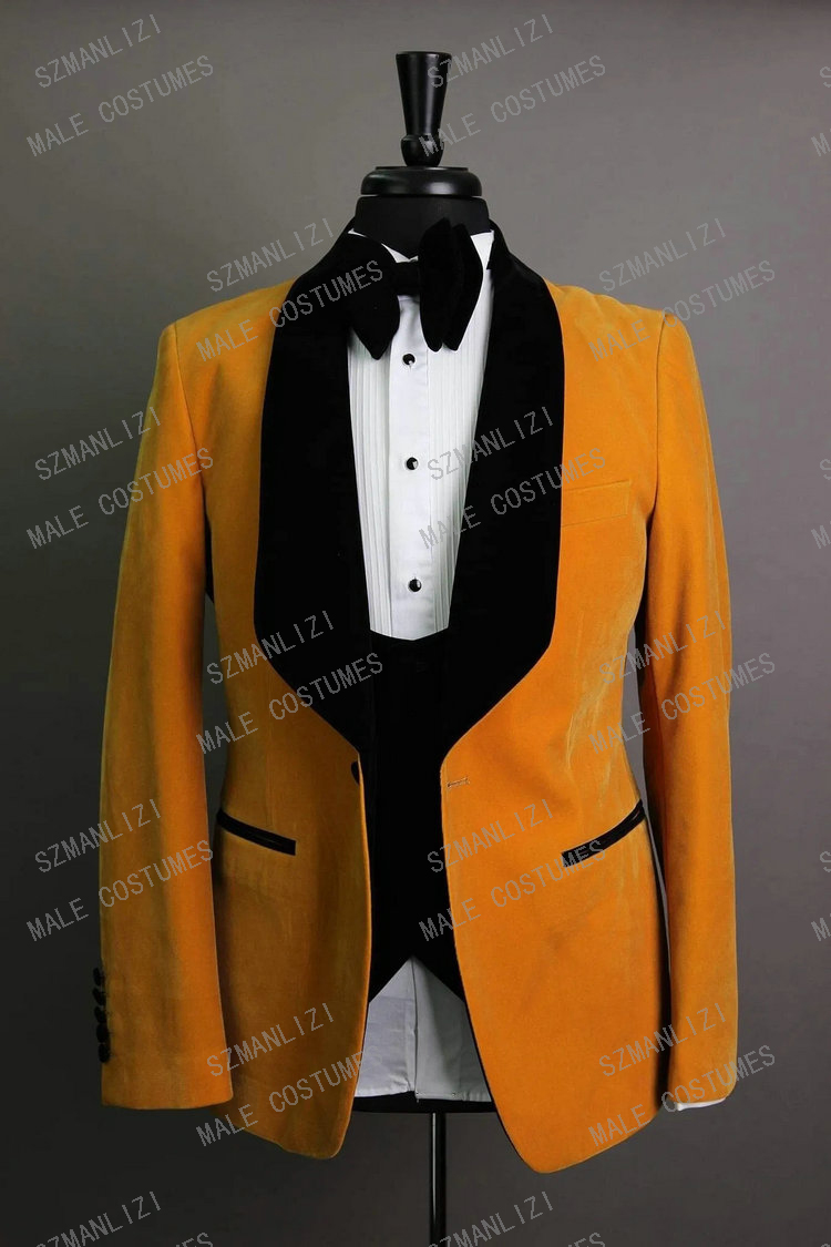 Elegant 3 Piece Suit 2020 New Brand Morning Dinner Party Prom Suit Velvet Groom Wedding Men Suit Blazer Slim Fit Best Man Tuxedo