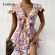 Elegant Floral Print Women Hollow Out Beach Dress Sexy V Neck Tie-Up Mini Dress Summer Butterfly Short Sleeve Ruffle Party Dress