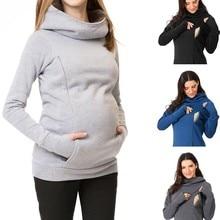 Толстовка для беременных женщин, для кормящих матерей, с длинными рукавами, с капюшоном, Толстовка для кормления грудью, для беременных женщин, с длинным рукавом, свитер с капюшоном