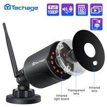 Techage-Cámara IP de 2MP y 1080P para vigilancia de exteriores, videocámara inalámbrica CCTV con wifi, audio bidireccional, IR, visión nocturna, P2P, onvif y ranura para tarjeta TF
