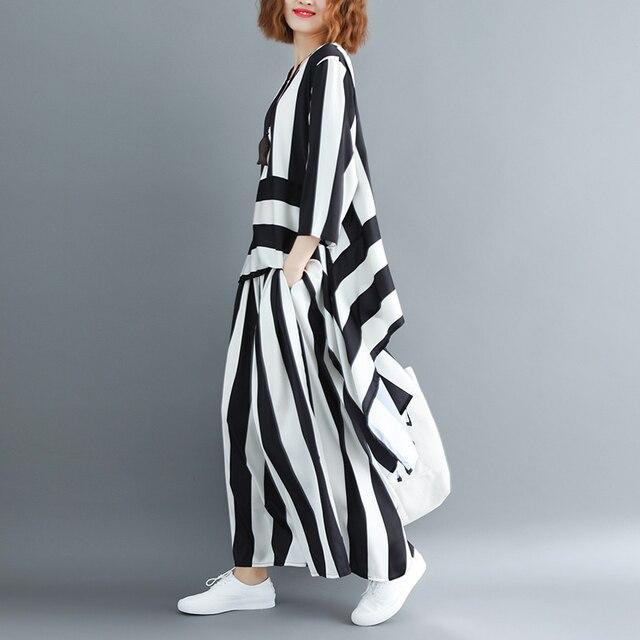 Irregular Loose Hem Stripe Shirt Elastic Suit Casual Waist Two Piece Set  3