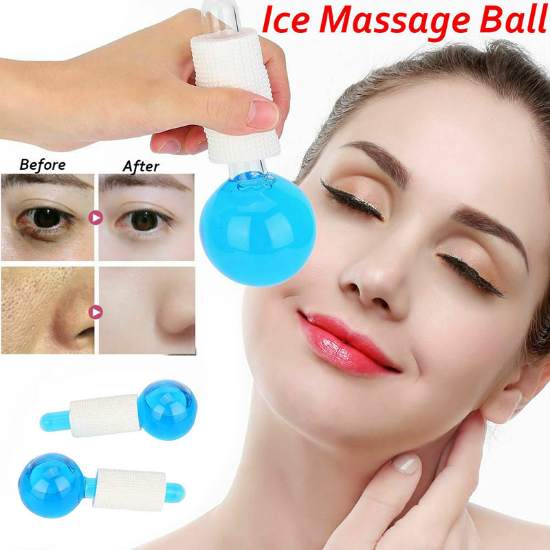 Health Care 2pcs Facial Massage Globes Ice Ball Energy Crystal Glass Ball Cooling Beauty Ice Globes Face Wrinkle Remover Product