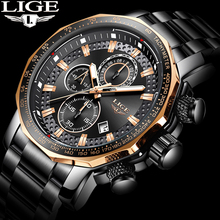 ใหม่ 2019 นาฬิกา Lige บุรุษยี่ห้อ Luxury Sport QUARTZ เหล็กทั้งหมดชายนาฬิกากันน้ำ Chronograph Relogio Masculino