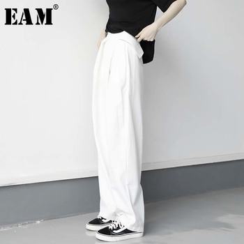 [EAM] High Waist White Split Joint Pleated Long Wide Leg Trousers New Loose Fit Pants Women Fashion Spring Summer 2020 1W288