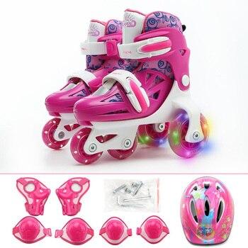 Kids Children Stable Balance Slalom Parallel Flashing Ice Skate Roller UNBreak Shoes Adjustable Washable For Boy Girl
