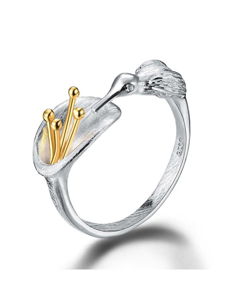 Bird-Ring Fine-Jewelry Hummingbird Lotus Fun 925-Sterling-Silver Creative-Design Real