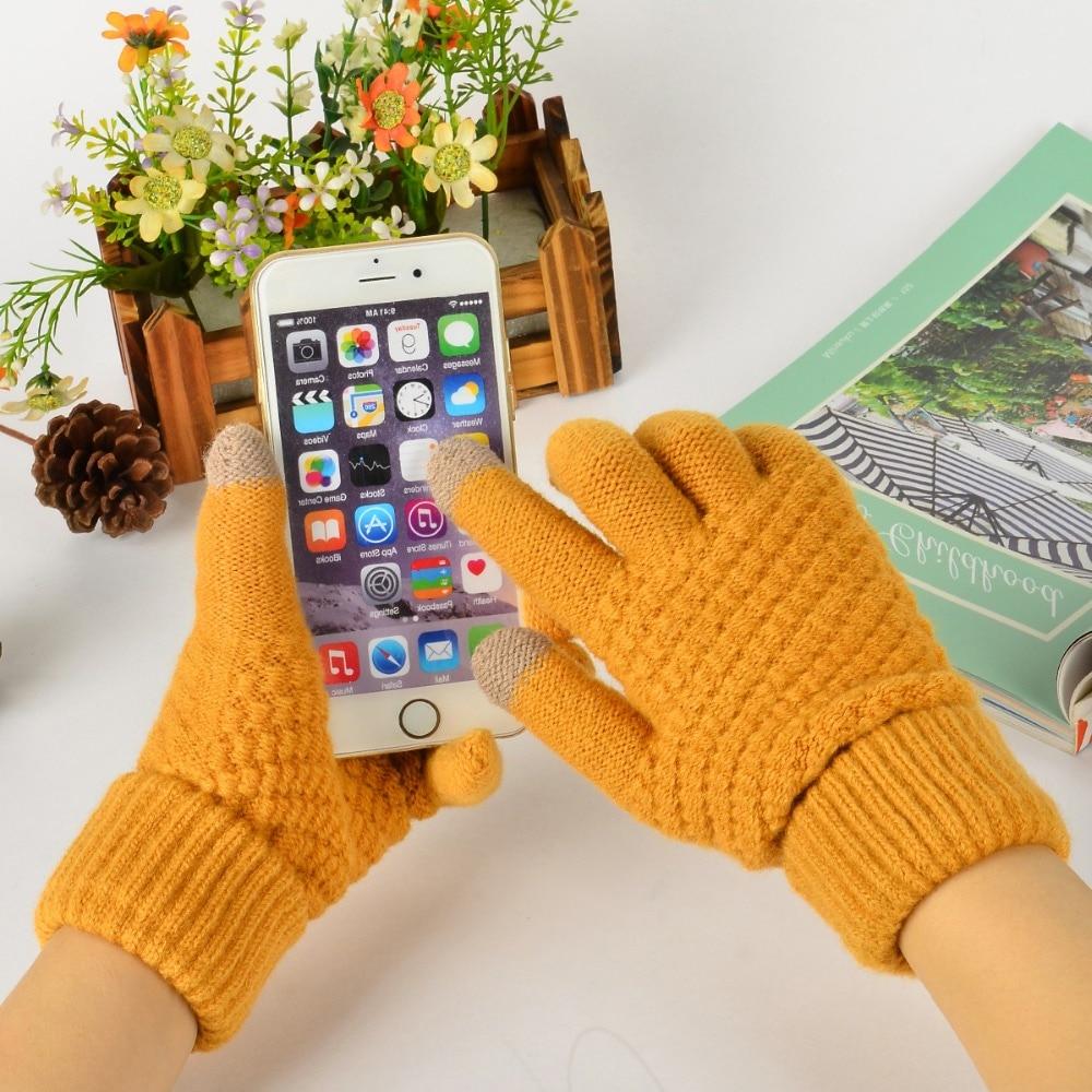 New Touch Screen Gloves Women Men Knitting Warm Winter Stretch Knit Mittens Wool Full Finger Guantes Female Crochet Mitt Luvas