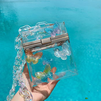 TOYOOSKY Fashion Transparent Bag Women Evening Party Purses Laser Butterfly Tote Holiday Bag Hard Clear Acrylic Square Box Bag мультиварка vitesse vs 576