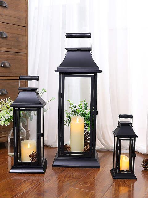 Candlestick Iron Gl Candle Lantern
