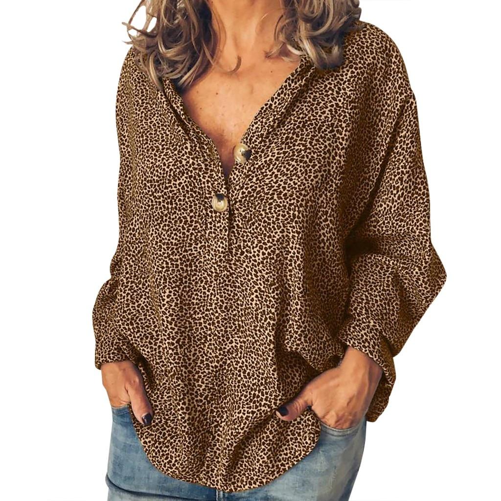 Blouses   Woman 2019 Long Sleeve Plus Size Leopard Print Button Leopard   Blouse     Shirt   Women Tops Blusas Femininas 5Xl