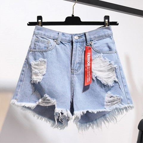High Waisted Denim Shorts Women's Summer New Loose Cut Hole Big Fat Mm Wide Leg Burr Korean Student Hot Trend Shein