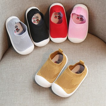 2021 Baby Boys Girls Breathable Anti-Slip Casual Knit Shoes Sneakers Toddler Soft Soled First Walkers недорого