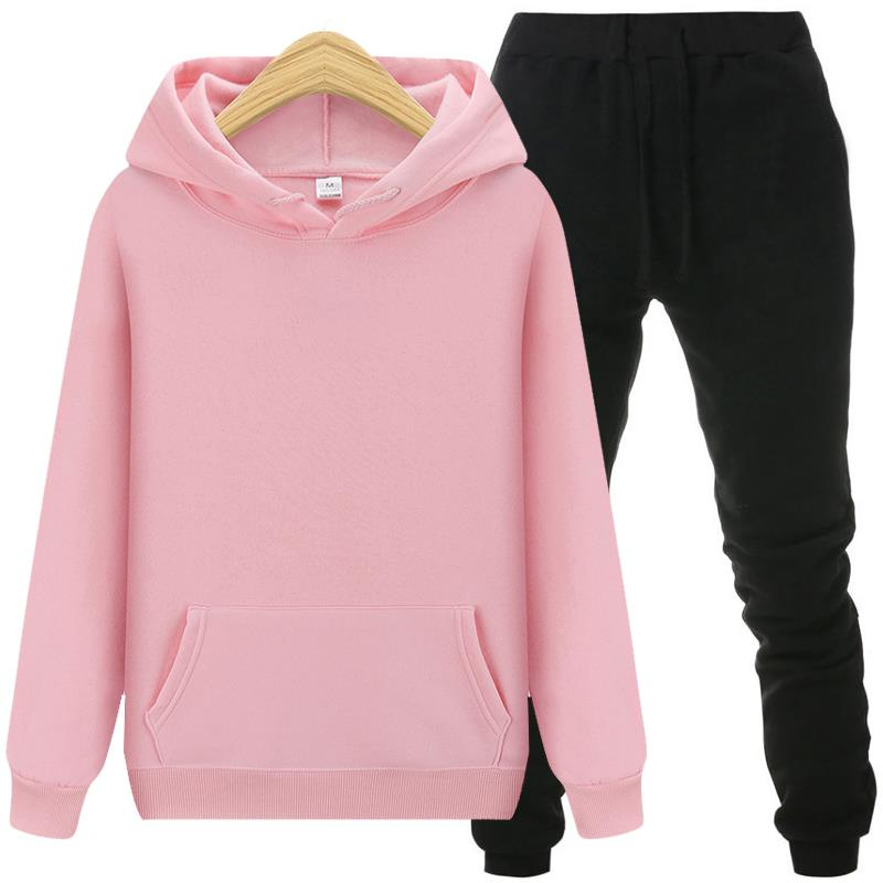 2pcs Hooded Casual Tracksuit…
