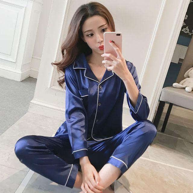 Ladies Silk Satin Pajamas 2 Piece Suit  2