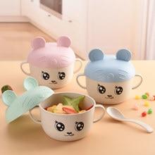2 Pçs/set Alimentação Do Bebê Talheres Comida de Trigo Dos Desenhos Animados para Crianças Crianças Que Comem Pratos Placa Jogo de Jantar Anti-quente Tigela Formação + colher