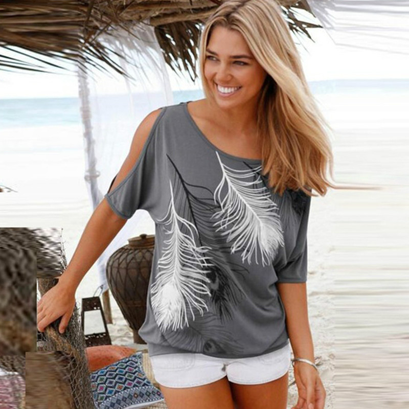 Women Summer   T     Shirt   Off Shoulder Feather Print   T  -  Shirts   Casual Short Batwing Sleeve Loose Tops One Shoulder   Shirts   Plus Size