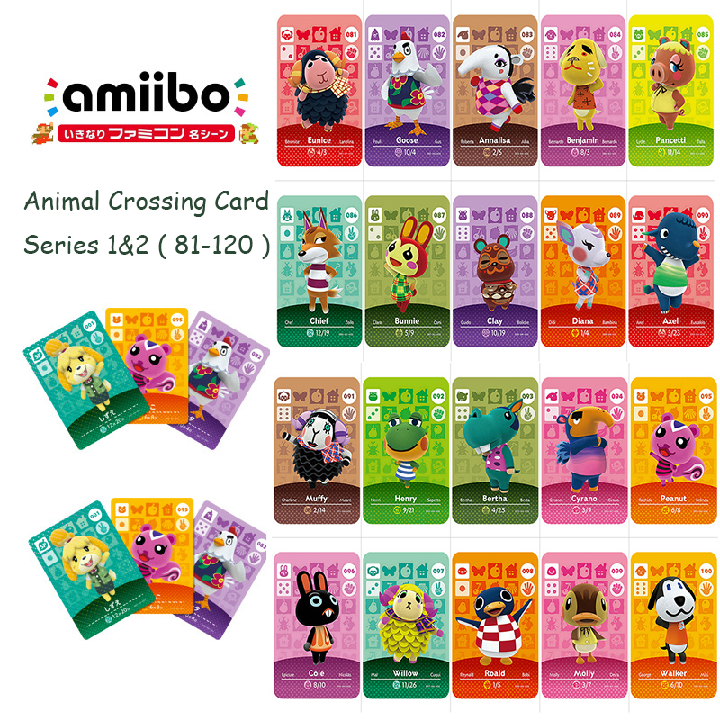 Animal Crossing Card Series 1&2 (81-120) Amiibo Card Work For 3DS NS Switch Game Animal Crossing New Horizons Amiibo Card Set