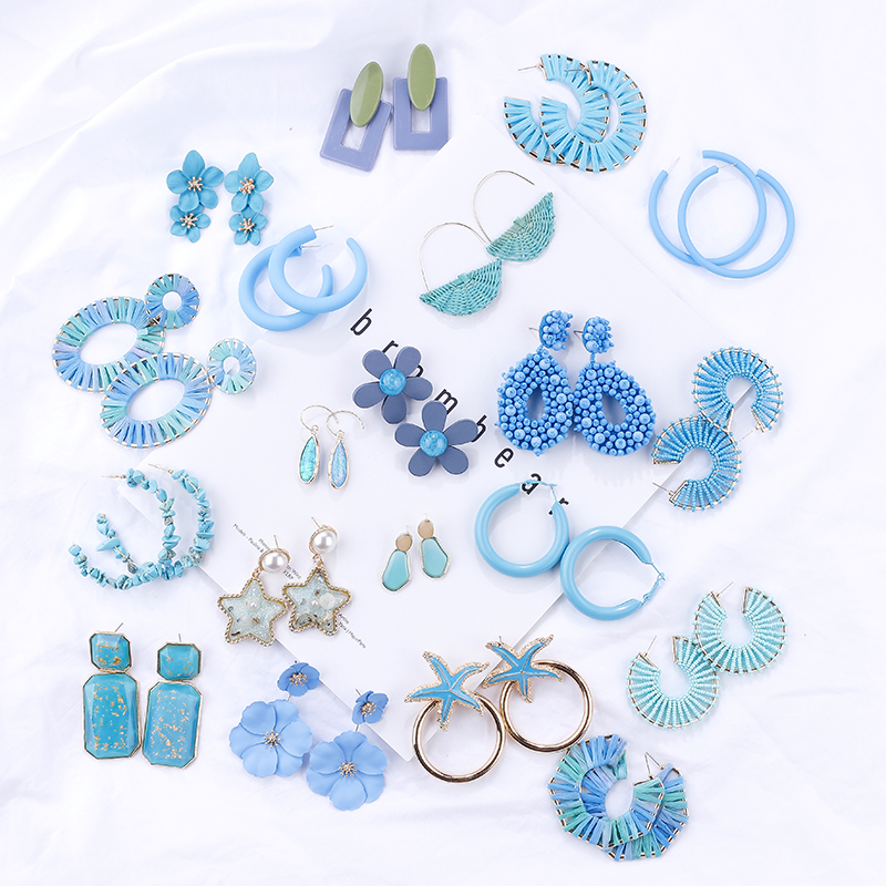 Женские винтажные серьги-подвески AMORCOME, синие акриловые серьги, массивное Ювелирное Украшение, 2020