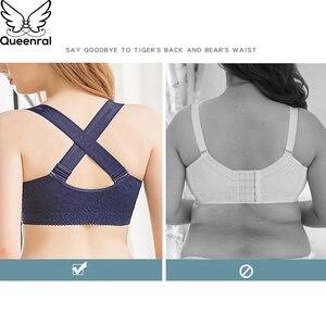 Image 1 - Queenral sutiãs para mulher frente fechada plus size sutiã roupa interior feminino sexy rendas push up bra beleza voltar confortável sutiã bh